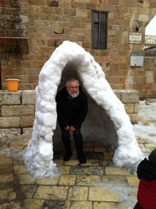 The Weisses' snow fort (occupied by some random guy who is not a Weiss). Our boys helped make this.