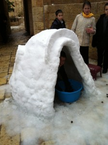 The snow fort made by one of our artist neighbors, Rivka Deutsch, and family.