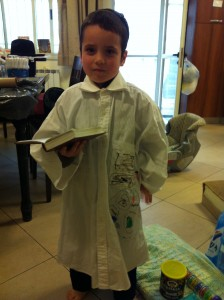 Shalom Gershon in his kittel, ready for the seder.